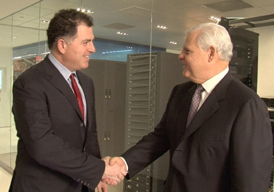 Image: Dell CEO Michael Dell (left) and EMC chairman, president and CEO Joe Tucci